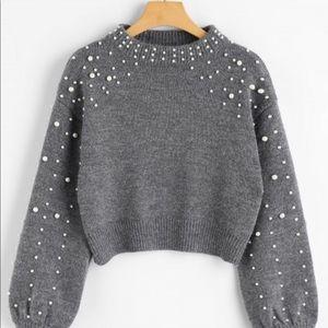 Grey pearl crop sweater